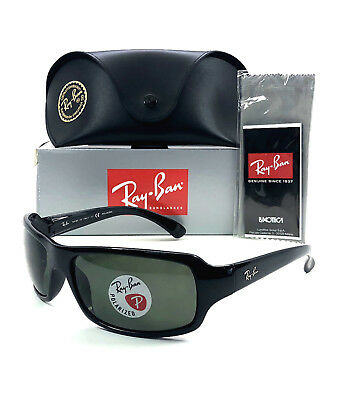 2a53539d16 Ray Ban RB 4075 601 58 Polished Black   Crystal Green Polarized 61mm  Sunglasses