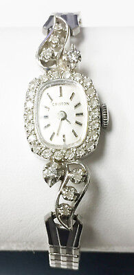 Croton 30 Diamonds 14K White Gold Vintage Mechanical Wind Up Watch Swiss Made