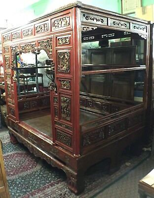 Carved Chinese Wedding Bed or Opium Bed