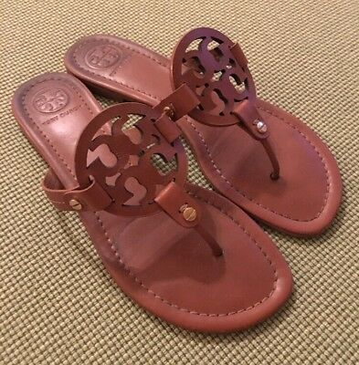 55ce17399bb4 TORY BURCH VINTAGE Vachetta Brown Miller Sandals Sz 8.5 Retail  198 ...