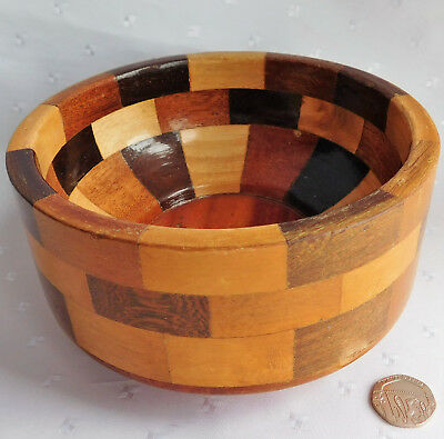 """Vintage Cambridge Ware wooden bowl Segmented turned wood 1950s 1960s 5.5"""""""