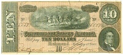 1864 Confederate States Of America $10 Richmond Note T-68 About Uncirculated