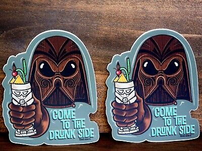 Come to the Drunk Side - Darth Vader with Tiki Mug - Two Stickers - Star Wars