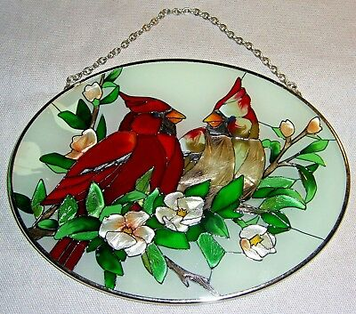 STAINED GLASS style CARDINALS & FLOWERS oval hanging suncatcher 7 x 5.25 inches