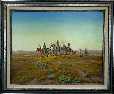 "Fine Original LESTER HALL ""Moving Camp"" Native Navajo Indian Oil Painting"