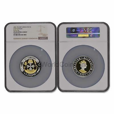 Gibraltar 2001 21st Century TriMet 5 Crowns Gold/Silver/Platinum NGC PF69 UC