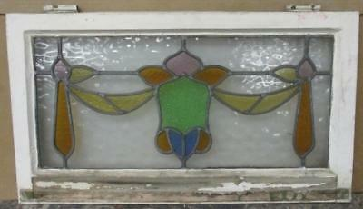 "MID SIZE OLD ENGLISH LEADED STAINED GLASS WINDOW Majestic Floral 27.5"" x 15.5"""