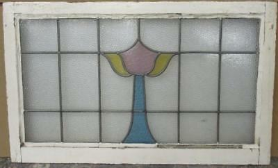 "LARGE OLD ENGLISH LEADED STAINED GLASS WINDOW Pretty Floral Tower 34"" x 21"""
