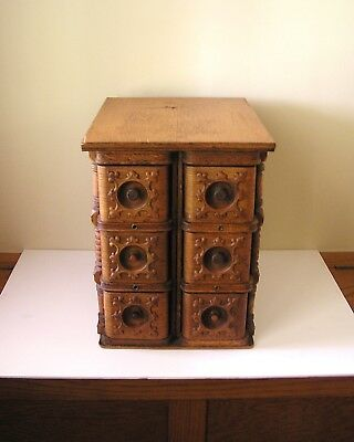 Antique Carved Oak Sewing Machine Cabinet Drawers & Stand—Storage for Mini-Items