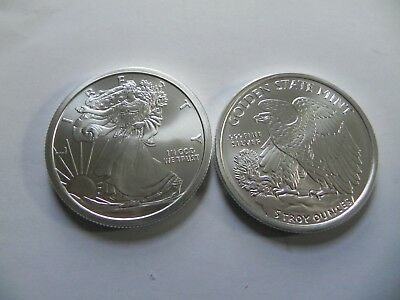 1 -  5 oz. 999 Fine Silver Round -- Walking Liberty Design - BU - New