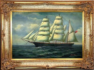"""Fine 1800s Antique Parker, Y. """"On The High Seas""""Clipper Sea Ship Oil Painting"""
