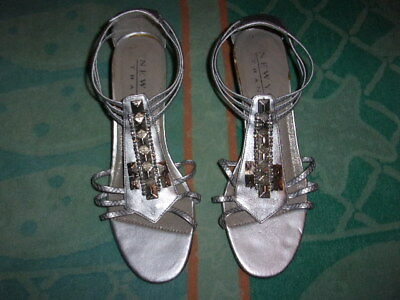 7274d64a772 NEW YORK TRANSIT Silver WEDGE SANDALS WOMEN S SIZE ...