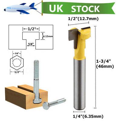 """1/4"""" Shank T-Slot Cutter Router Bit For 1/2"""" Hex Bolt Woodworking Chisel  Tool"""