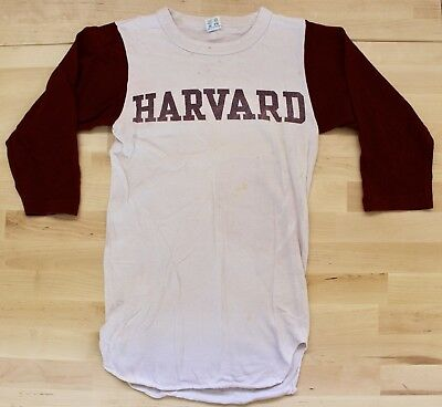 Rare Vintage Harvard Champion Baseball Style T-Shirt S Small 70s College Maroon