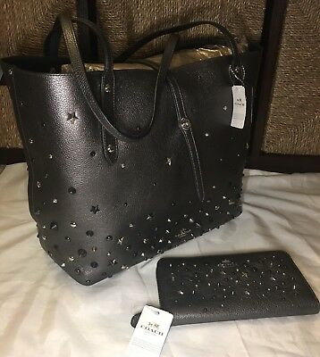 online store bf250 49f29 COACH LEATHER METALLIC Graphite Star Rivets Market Tote & Wallet Set  59504/59489