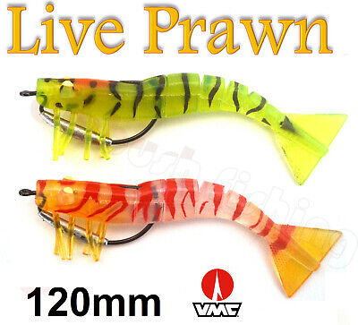 2x 120mm Weedless Live Shrimp Prawn Lures Jig heads Fishing Snapper Boating