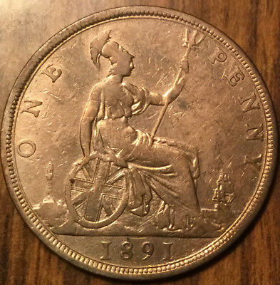 1891 UK GB GREAT BRITAIN VICTORIA ONE PENNY - Cleaned