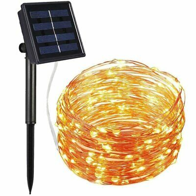 Solar Powered 100Led Copper Wire Fairy String Lights Party Garden Outdoor Light