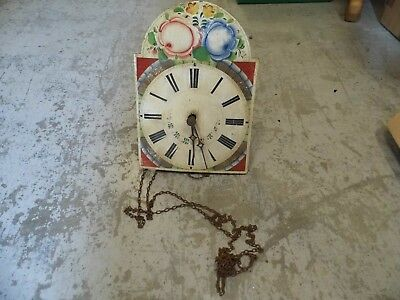 Antique Clock workings with decorative hand painted wooden face