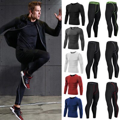 Thermal Mens Compression Base Layer Top Skin Under Fit Shirt Leggings Pants Set