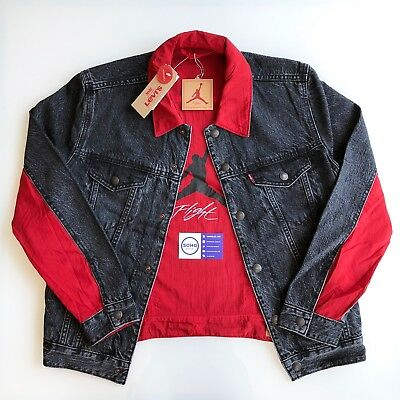 c139b4f045c450 Jordan X Levis Levi s Reversible Denim Jacket Black Red White Nike Flight  S-Xxl