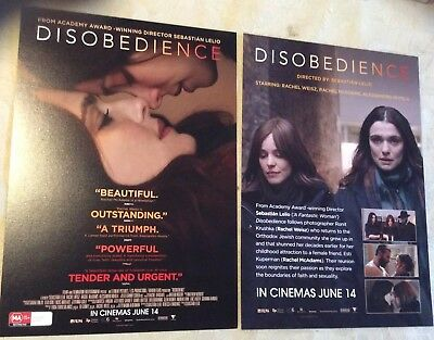 Promotional Movie Flyer Disobedience Rachel Weiss, Rachael McAdams *NOT A DVD*