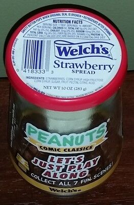 WELCH'S JELLY JAR PEANUTS COMIC CLASSIC #5 LET'S JUST PLAY ALONG With Lid
