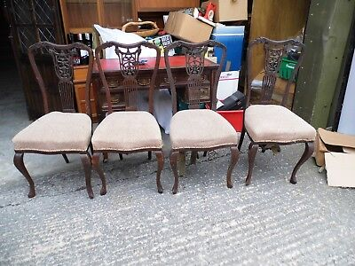Set of 4 Antique dining chairs very decorative ,all for restoration see pictures