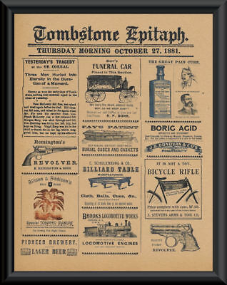 1881 Tombstone Arizona Epitaph Advertisements Reprint On 100 Year Old Paper P023