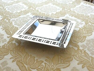 Vintage Square Silver Plated Pierced Dish With Raised Base   1330556/560