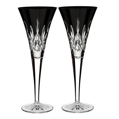 Lismore Black by Waterford pair of Champagne Flutes, New in Box
