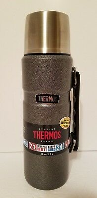 Thermos Brand Vacuum Insulated Stainless Steel Beverage Food Bottle 40 Grey/Blk