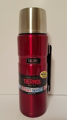 Thermos Brand Vacuum Insulated Stainless Steel Food Beverage Bottle 40 Red