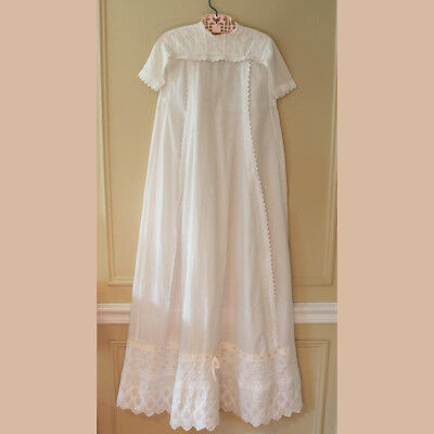 Antique Victorian Cotton White Work Embroidered Baby's Baptism Gown