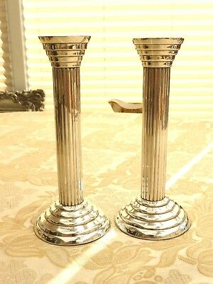 Pair Of Vintage Silver Plated Fluted Column Style Candlesticks      1360339/343