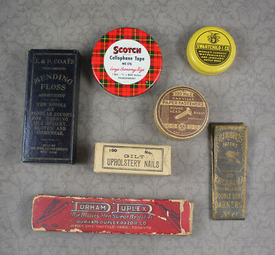 Vintage Mixed Lot of Collectible Boxes, Sewing Supplies, Razor and Other Items