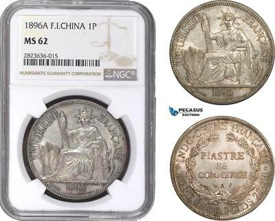 AC291, French Indo-China, 1 Piastre 1896-A, Paris, Silver, NGC MS62