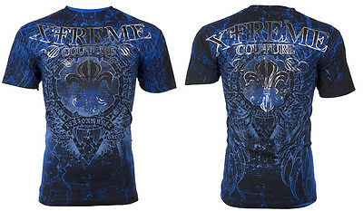 Xtreme Couture Affliction S/S Mens T-Shirt HONORABLE Wings BLUE Biker S-3XL $40