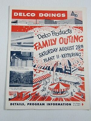 Delco Doings-Flyer Program  Vol 41 #15 August 1954 Dayton, OH Family Outing