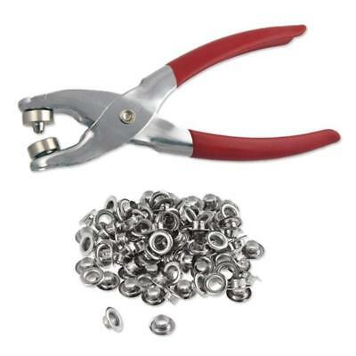 """1/4"""" Grommet Setter Setting Pliers Leather Tool Hole Punch With 100 Eyelet Kit"""