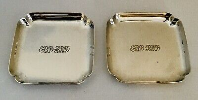 Vtg Tiffany & Co. 925 Sterling Silver Set Of 2 Square Dishes / Coasters