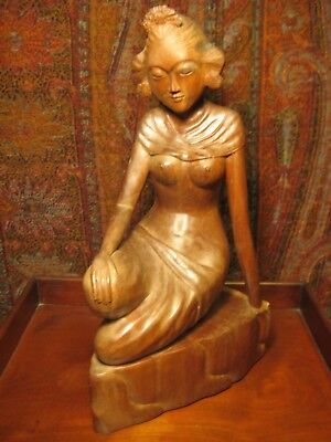 Vintage Hand Carved Wooden Statue Balinese Woman At Rest  Bali  Artist Signed