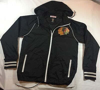 Chicago Blackhawks Logo Mitchell & Ness Vintage Hockey Windbreaker Jacket Sz L