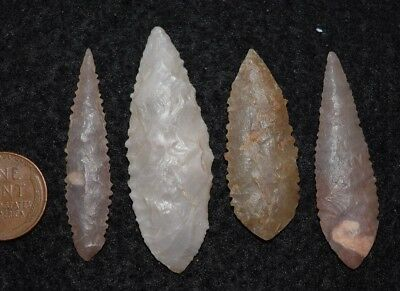 4 nice Sahara Neolithic ovate style projectile points, serrations, nice!