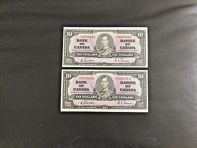 1937 Bank Of Canada Banque Du Canada  2X$10 Ten Dollar Note Ch Cu Gordon/towers