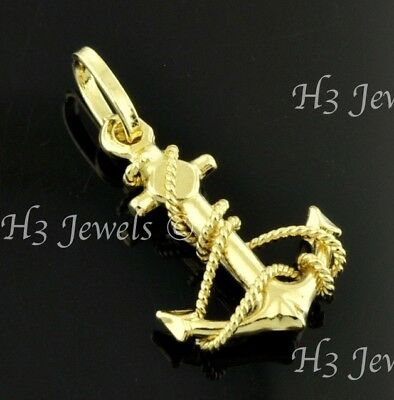 14k Solid yellow gold  Anchor pendant Mariner #7705  1.00 gram h3jewels