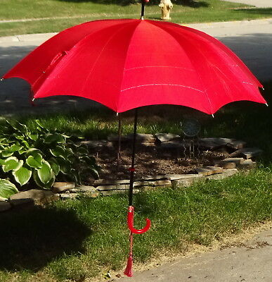 Vintage Parasol Umbrella Pagoda Red, Lucite Handle, Brass & Slip-on Cover 1920s