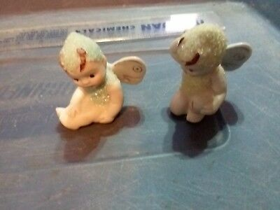 Two Snow Babies With Wings - Made In Japan  -  2 1 /2 Inches