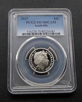 2013 Australia Proof Ten 10 Cent Coin - PCGS Graded PR70DCAM Finest Graded