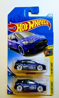 2018 Hot Wheels Ford Focus Rs 276 Blue Hw Art Car Series Lot Of 2